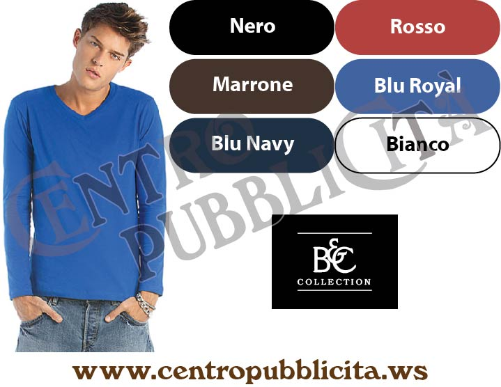 t-shirt personalizzate b&c collection maniche lunghe scollo a v
