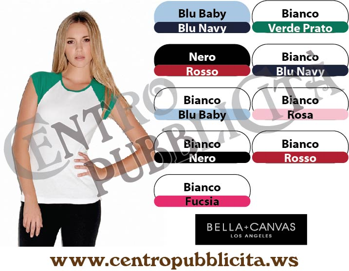 t-shirt personalizzate bella + canvas los angeles donna baseball senza maniche