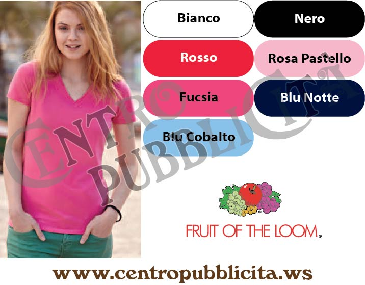 T-shirt Personalizzate Fruit of the Loom Donna Elasticizzata Collo a V