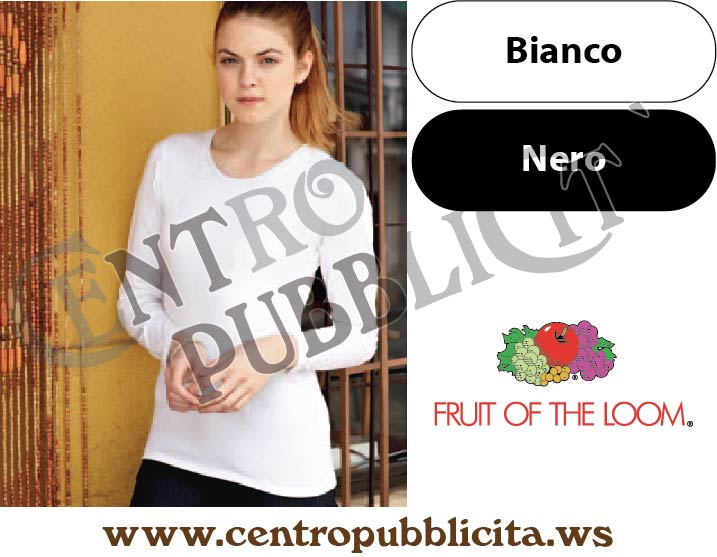 Personalizzate Manica Lunga Donna Aderente Fruit Of Shirt T Loom The 0vnm8ONw