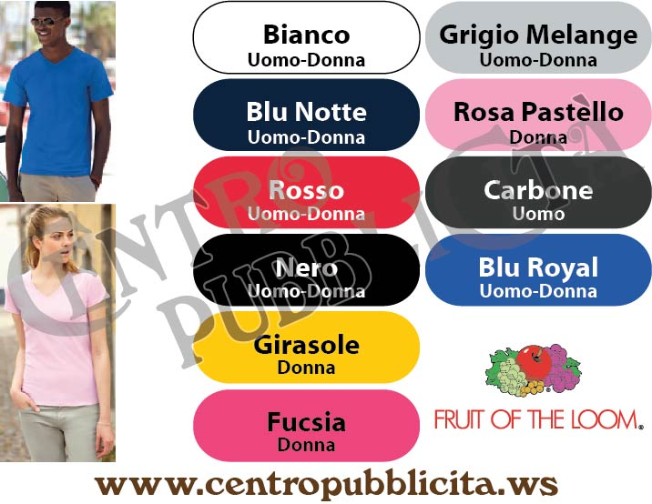T-shirt Personalizzate Fruit of the Loom Valueweight Collo a V uomo donna