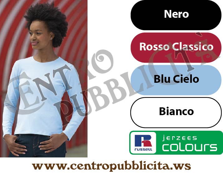 t-shirt personalizzate russell europe jerzees colours donna attillata maniche lunghe